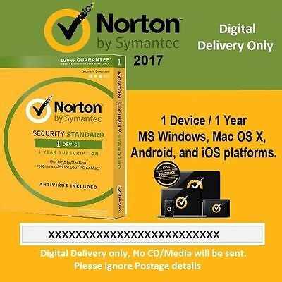 Norton Internet Security Standard 1 Device - 1 Year Latest 2016 2017 - Code Only