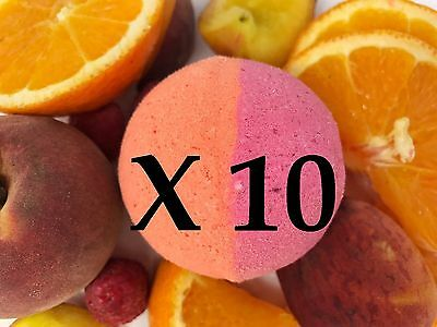 10 Large Bath Bombs -Tropical Fruit Scent- Miami Beach = Handmade by Luxxy