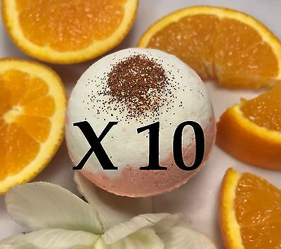10 Large Bath Bombs - Fruity Scent - Creamsicle - Handmade by Luxxy