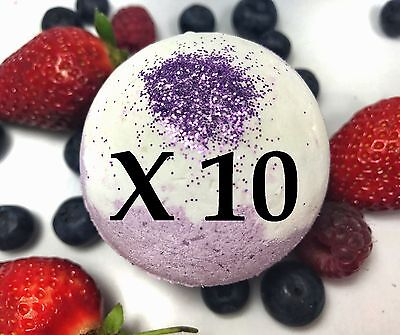 10 Large Bath Bombs - Fruity Scent - Wild Berries - Handmade by Luxxy
