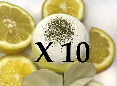 10 Large Bath Bombs - Fruity Scent - Lemon Pound Cake - Handmade by Luxxy