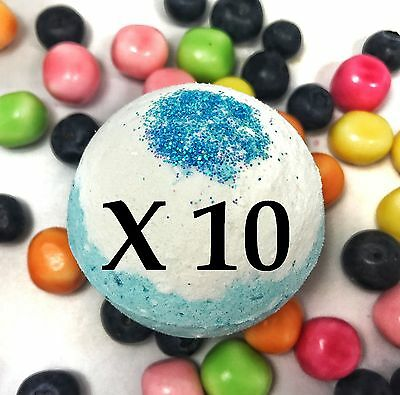 10 Large Bath Bombs - Fruity Scent - Bubble Berry - Handmade by Luxxy