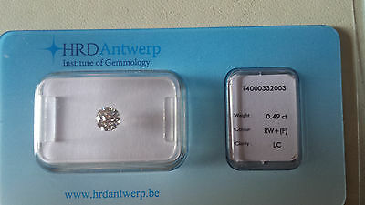 diamante puro 0,49 ct F color certificato HRD