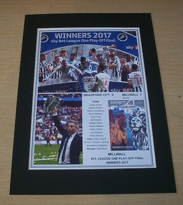 Millwall - 2017 EFL League 1 One Play-Off Final Winners Print Mounted To A4