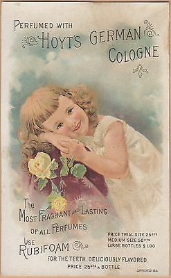 Victorian Trade Card-Hoyt's German Cologne-Lowell, MA-Aurora Mills, OR-Calendar