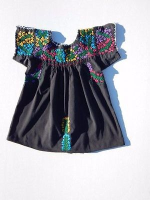 VINTAGE~70's MEXICAN Top~BLACK Cotton Embroidered OAXACAN Peasant HIPPIE S