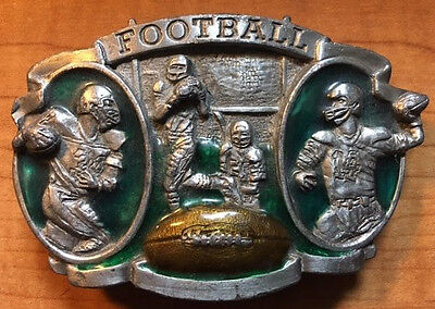 Vintage 1983 Football Belt Buckle with Nice Color! Bergamot Brass Works