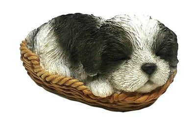 SHIH TZU Puppy Dog Basket Life Like Realistic Figurine Statue Home Garden Decor