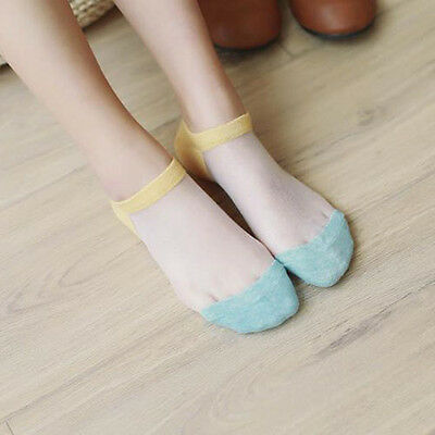 Women Casual Ankle High Low Cut Invisible Crystal Silk Cotton Soft Socks 1 Pair
