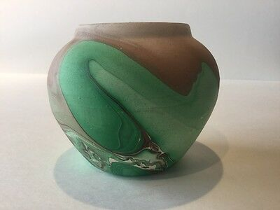 Estes Park Made in Colorado Brown and Green Swirl Pattern Pottery Planter
