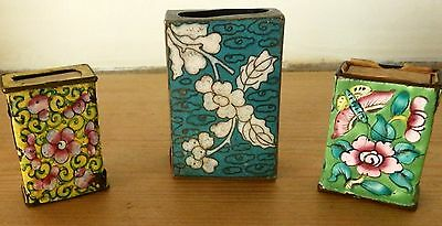 Three Nice 19th C Chinese Cloisonne (C 1870) Matchbox Holders