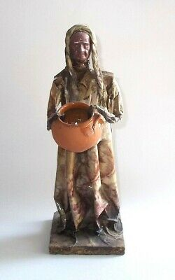 """Vintage Mexican Folk Art Paper Mache Figure-Woman Holding Red Clay Pot-12"""" Tall"""