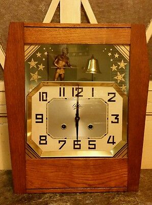 Vintage Odo French Art Deco Automation Mantle~Wall Clock~ Man With Hammer Nice