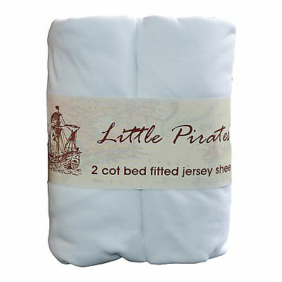 2 x Baby Cot Bed Fitted sheet 70x140 100% cotton jersey BNIP White
