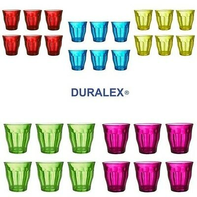 Duralex Picardie Coloured Glass Tumblers 250ml Set of 6 - Various Colours
