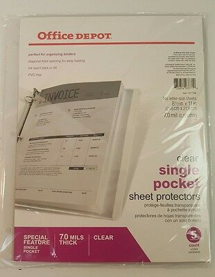 "Office Depot® Brand Clear Binder Pockets, 8 1/2"" x 11"", Pack Of 5"