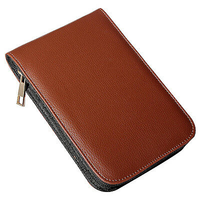 Fountain Pen Roller Brown Leather Binder Case Holder Stationery for 12 Pens W7N2