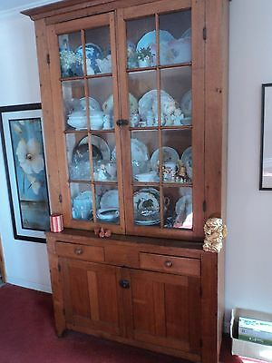 Antique China Cabinet / Civil War Walnut Hand Made original glass Mint must sell