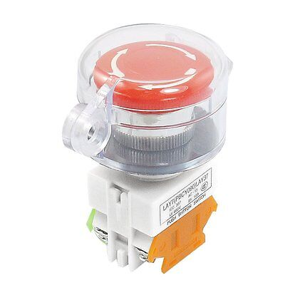 Self Locking Contact Clear Cover Protection Red Push Button Switch NO/NC D7S3