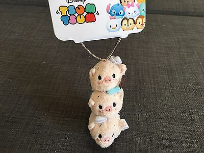 Disney Store Japan Exclusive Three Little Pigs Tsum Tsum Keychain Ships from US