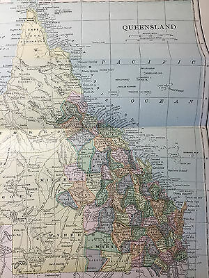 1887 - Orginal Antique Print from Chambers Encyclopaedia, Map of QUEENSLAND