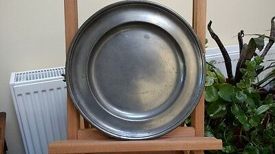 Mid 18th Century Single Reeded Pewter Plate