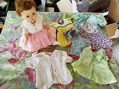 "Vintage 1950's  American Character Tiny Tears 15"" Baby Doll w/ clothing  dress s"