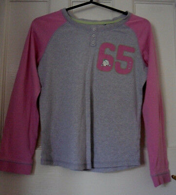NEXT GIRLS  GREY/PINK COTTON PYJAMAS TOP NIGHTWEAR Age:10yrs(GSW04)