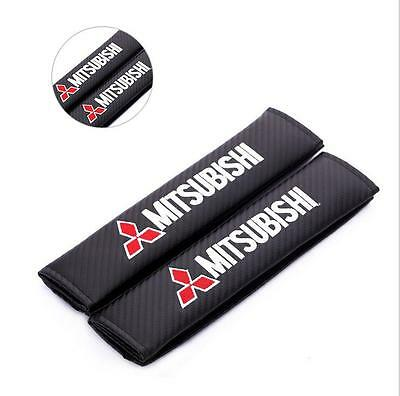 Black Carbon Fiber Seat Belt Cover Pads 2 pcs - Mitsubishi/Lancer