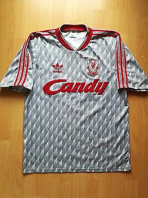 Rare Liverpool Vintage 1989 90 Away Football Jersey Shirt Candy L Old School