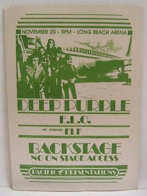 DEEP PURPLE / ELO / ELF (DIO) - VINTAGE ORIGINAL 1970's CLOTH BACKSTAGE PASS