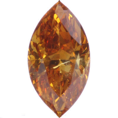 0.14ct Fancy Vivid Yellow-Orange Marquise Rare Loose Diamond