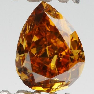 0.30ct Fancy Yellowish Orange Pear Cut Loose Diamond