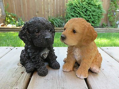 """2 Cockapoo Puppy Dogs Figurines Statues Resin Pet 6"""" H Sitting Ornament New"""