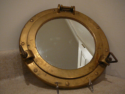 S25 Vintage Brass Ship Cabin Nautical Porthole Mirror Insert