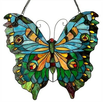 """Colorful Butterfly Design Stained Glass Window Panel 21"""" Tall x 20"""" Wide"""