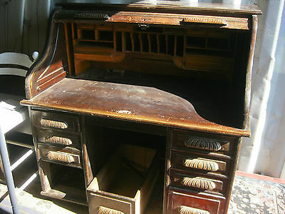 Vintage Ornate Large 'roll Top' Desk. Various Pigeon Holes. 8 Drawers. Delivery