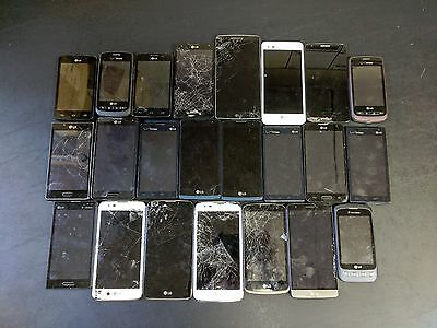 Lot of 23 Broken LG Smartphones for Parts or Repair or Gold/Metal Recovery