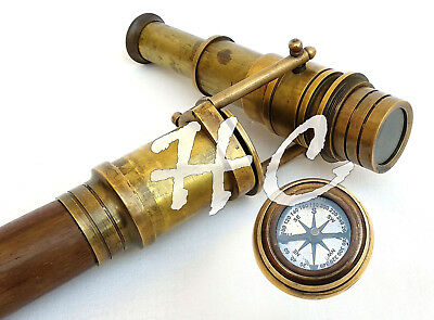Vintage Wooden Walking Stick With Hidden Spy Brass Telescope With Compass on Top