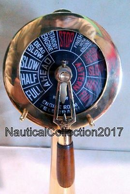 "Collectible Solid Brass Ship Engine Room Telegraph 14""- Maritime Nautical Decor"