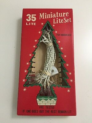 Vtg Christmas Tree Red Lights 35 Mini Clear Reflectors Miniature Lite Set Japan
