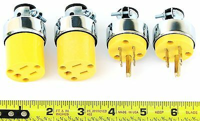4 Pack Of 15 Amp Armored  Electrical Plug Ends 125V 2 Male 2 Female