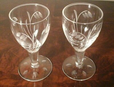 "Vintage Pair Of Stuart Crystal ""elgin"" (Snowdrop) Sherry Glasses 11Cm  Signed 1"