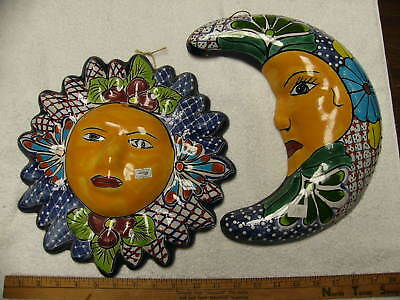 "12"" Talavera Pottery Sun and Moon Face  Matching Set 2 Pieces Hand Painted"
