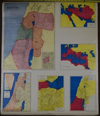 Vintage Pull Down Map Israel & Palestine Time of Christ. Reverse is S. Asian Sea