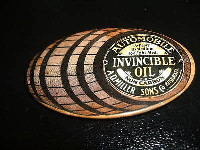 "Antique Celluloid Advertising Pocket Mirror "" Invincible Oil Automobile Pitt PA"