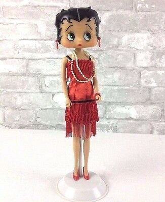Vintage Betty Boop Collector Doll With Red Dress Shoes Earrings Pearls Bracelet