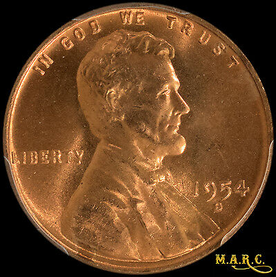 1954-D MS67RD PCGS 1C Lincoln Wheat Cent, Bright Red Beauty! Free Shipping, MARC
