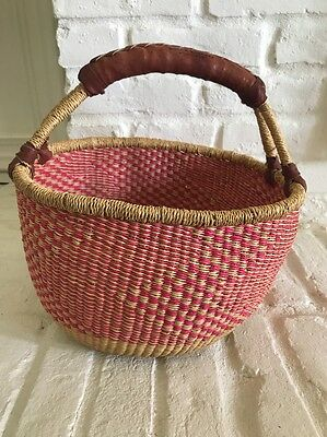 Authentic Bolga Woven MARKET BASKET Ghana Africa  Rare Pink Color Leather Handle