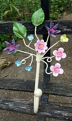 **awesome Shabby Cottage Vintage Italian Tole Floral Wall Hook**